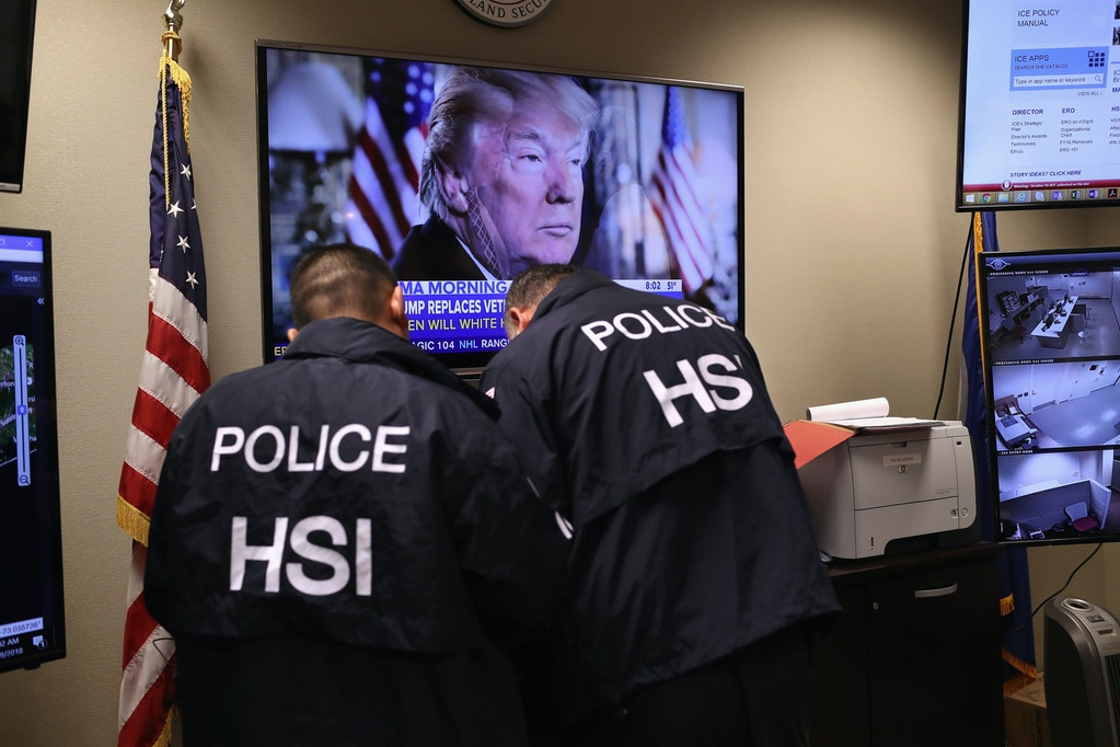 CENTRAL ISLIP, NY - MARCH 29:  Homeland Security Investigations (HSI) ICE agents work in a control center as field agents arrest suspected immigrant gang members in Central Islip, New York. Overnight and into the morning, U.S. federal agents and local police detained suspected gang members across Long Island in a surge of arrests. The actions were part of Operation Matador, a nearly year-long anti-gang effort targeting transnational gangs, with an emphasis on MS-13.  (Photo by John Moore/Getty Images)