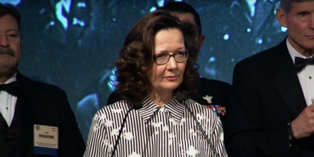 Gina Haspel speaks at the 2017 William J. Donovan Award Dinner.