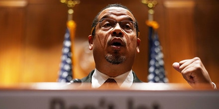 WASHINGTON, DC - DECEMBER 12:  U.S. Sen. Keith Ellison (D-MN) speaks during a news briefing December 12, 2017 on Capitol Hill in Washington, DC. U.S. Sen. Jeff Merkley (D-OR) spoke on the Labor Department's recently-proposed rule