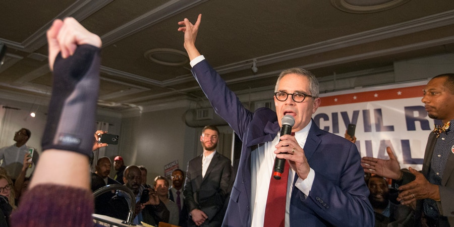 Democratic nominee Larry Krasner takes the stage after winning the election to be the next Philadelphia District Attorney in Philadelphia, Tuesday, Nov. 7, 2017. (Charles Fox/The Philadelphia Inquirer via AP)