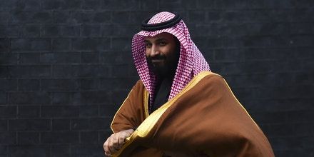 Saudi Crown Prince Mohammed bin Salman arrives at Downing Street, London on March 7, 2018. The trip, which also takes in stops in Cairo and New York, is the prince's first foreign tour as heir to the Saudi throne and is seen as his chance to project the kingdom as a reforming youthful society determined to take up its status as a major G20 economic power. (Photo by Alberto Pezzali/NurPhoto/Sipa USA)(Sipa via AP Images)