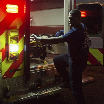 In this July 26, 2017 photo, a paramedic works in Charleston, W.Va. Paramedics have been flooded with calls related to overdoses, stretching their already limited resources. (Craig Hudson/Charleston Gazette-Mail via AP)