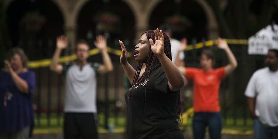 ST. PAUL, MN - JULY 07:  Minneapolis NAACP president, Nekima Levy-Pounds, leads a chant of