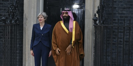 British Prime Minister Theresa May greets Saudi Crown Prince Mohammed bin Salman at Downing Street, London on March 7, 2018. The trip, which also takes in stops in Cairo and New York, is the prince's first foreign tour as heir to the Saudi throne and is seen as his chance to project the kingdom as a reforming youthful society determined to take up its status as a major G20 economic power. (Photo by Alberto Pezzali/NurPhoto/Sipa USA)(Sipa via AP Images)