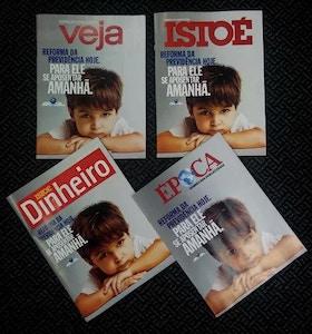 Capas de revistas semanais a favor da reforma da Previdência