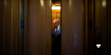 WASHINGTON, DC - APRIL 07:  Senate Minority Leader Chuck Schumer (D-NY) boards an elevator before Judge Neil Gorsuch was confirmed as the next member of the U.S. Supreme Court April 7, 2017 in Washington, DC. The full Senate confirmed Gorsuch by a vote of 54-45. (Photo by Eric Thayer/Getty Images)