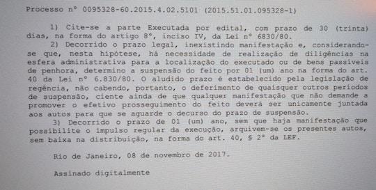 Documento da Justiça Federal mostra que ex-vereador não foi localizado em processo por sonegação de impostos