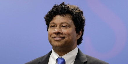 Shri Thanedar, a scientist and entrepreneur who has experienced big highs and lows in business announces his candidacy for Michigan governor during a news conference, Thursday, June 8, 2017 in Detroit. Thanedar, a Democrat, is a native of India and founded the Ann Arbor chemical testing company Avomeen. Thanedar says he is running because he wants to