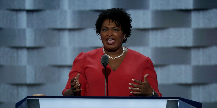 PHILADELPHIA, PA - JULY 25: House Minority Leader for the Georgia General Assembly and State Representative, Stacey Abrams delivers a speech on the first day of the Democratic National Convention at the Wells Fargo Center, July 25, 2016 in Philadelphia, Pennsylvania. An estimated 50,000 people are expected in Philadelphia, including hundreds of protesters and members of the media. The four-day Democratic National Convention kicked off July 25. (Photo by Alex Wong/Getty Images)