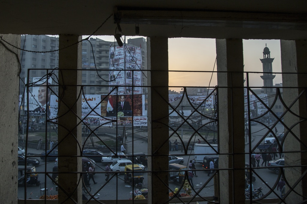 A view of election campaign banners erected by supporters of Egyptian President Abdel Fattah al-Sisi in Matareya Square in Matareya neighborhood East of Cairo.