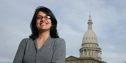 Rashida Tlaib, a Democrat, is photographed outside the Michigan Capitol Thursday, Nov. 6, 2008, in Lansing, Mich. Elected to the 12th District of the Michigan state House, Tlaib becomes the first Muslim woman ever to serve in the Michigan legislature. (AP Photo/Al Goldis)