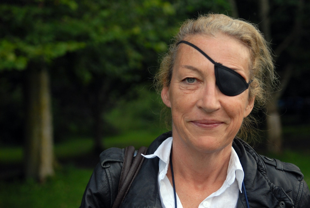 Marie Colvin, American-born, London-based British war correspondent, at the Books, Borders and Bikes festival at Traquair House, Innerleithen, Peebleshire, Scotland, August 20, 2011. (Writer Pictures via AP Images)
