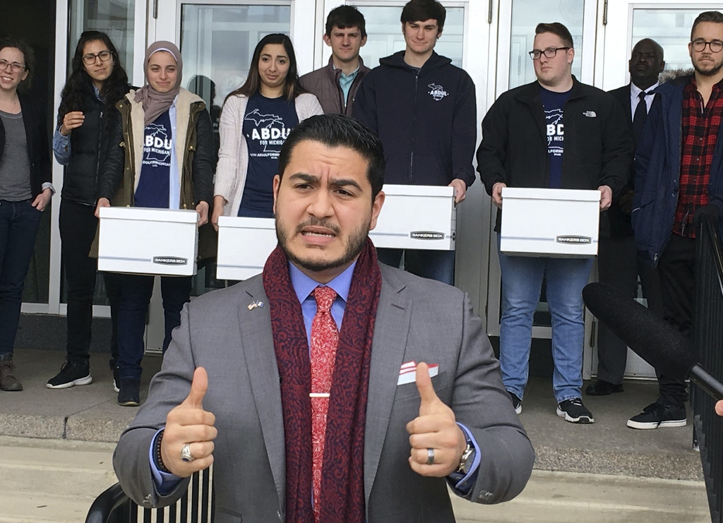 Democratic gubernatorial candidate Abdul El-Sayed speaks before submitting 24,000 nominating petitions to the Michigan Bureau of Elections, Tuesday, March 6, 2018, in Lansing, Mich. El-Sayed became the first Democratic gubernatorial candidate to submit nominating petitions, a step that could lead to clarity over nagging questions about his eligibility to run. (AP Photo/David Eggert)