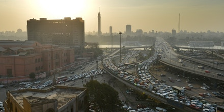 A general view shows a traffic jam on Cairo's six October bridge on January 23, 2013. AFP PHOTO/KHALED DESOUKI        (Photo credit should read KHALED DESOUKI/AFP/Getty Images)