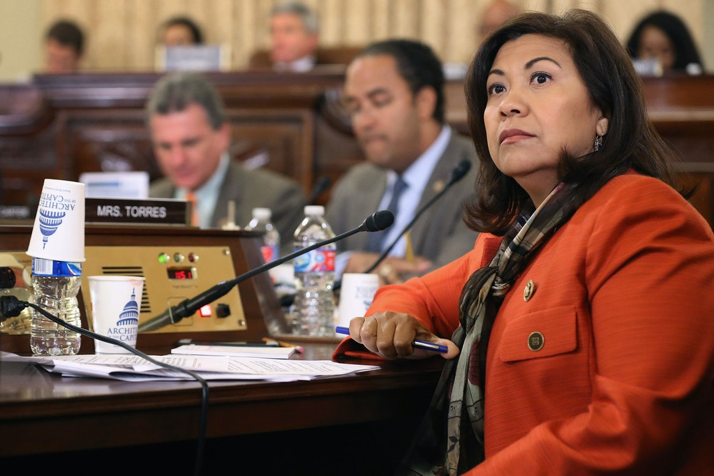 WASHINGTON, DC - OCTOBER 21:  House Homeland Security Committee member Rep. Norma Torres (D-CA) questions witnesses during a hearing about worldwide threats to the United States in the Cannon House Office Building on Capitol Hill on October 21, 2015 in Washington, DC. National Counterterrorism Center Director Nicholas Rasmussen, Homeland Security Secretary Jeh Johnson and Federal Bureau of Investigation Director James Comey were questioned about ISIS recruitment of young women, its use of social media and their limited resources due to budget sequestration.  (Photo by Chip Somodevilla/Getty Images)