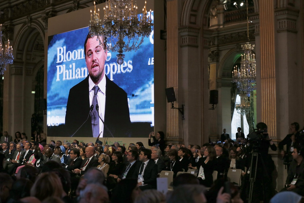 US actor Leonardo DiCaprio delivers a speech at the City hall in Paris during a summit on climat,as part of the World Climate Change Conference 2015 (COP21),  on December,4, 2015.    / AFP / PATRICK KOVARIK        (Photo credit should read PATRICK KOVARIK/AFP/Getty Images)