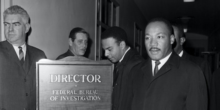 Martin Luther King Jr. has arrived at the Federal Bureau of Investigation to speak with director J. Edgar Hoover, who has recently and publically called the civil rights leader a