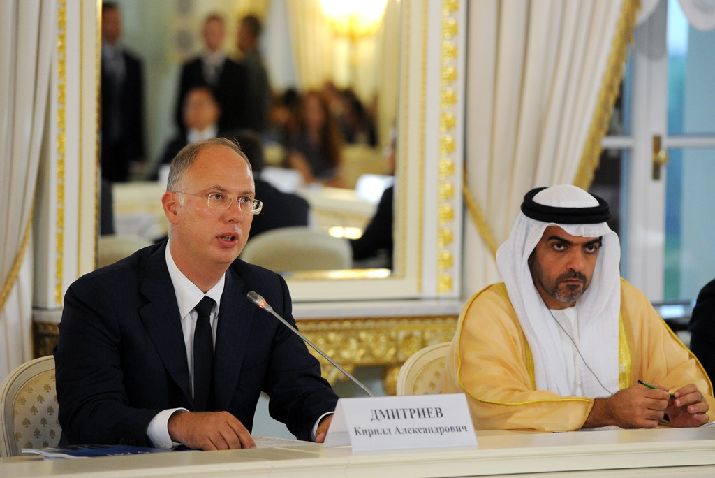 ST PETERSBURG - JUNE 16, 2016: Kirill Dmitriyev, ceo of the Russian Direct Investment Fund (L), and crown prince of Abu Dhabi Mohammed bin Zayed bin Sultan Al-Nahyan at a meeting of Russian government officials, members of the 's International Advisory Board and foreign investors. Mikhail Klimentyev/TASS (Photo by Mikhail KlimentyevTASS via Getty Images)