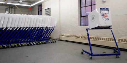 NEW YORK, NY - NOVEMBER 3:  Voting booths sit at a New York City Board of Elections voting machine facility warehouse, November 3, 2016 in the Bronx borough in New York City. The voting booths, ballot scanners and other supplies will be picked up on Monday and delivered to area Bronx polling places ahead of Tuesday's election. (Photo by Drew Angerer/Getty Images)