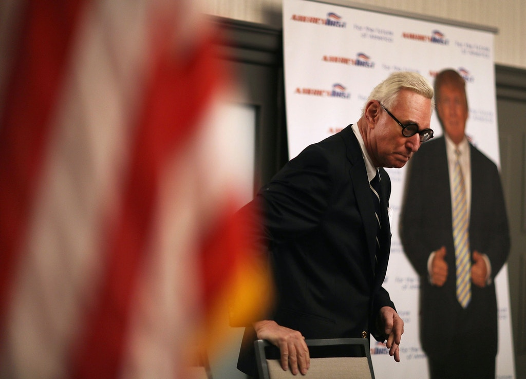 "BOCA RATON, FL - MARCH 21:  Roger Stone, a longtime political adviser and friend to President Donald Trump, arrives to speak and sign copies of his book ""The Making of the President 2016"" at the Boca Raton Marriott on March 21, 2017 in Boca Raton, Florida.  The book delves into the 2016 presidential run by Donald Trump.  (Photo by Joe Raedle/Getty Images)"