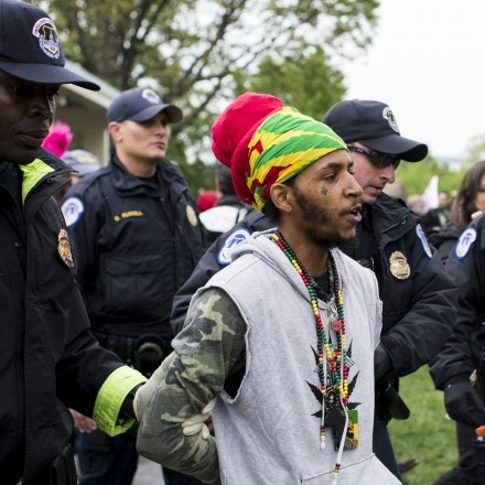 UNITED STATES - APRIL 24: U.S. Capitol Police arrest several DCMJ.org marijuana advocates after they smoked marijuana in front of the U.S. Capitol during their protest on Monday, April 24, 2017. The group held their protest to call on Congress to reschedule the drug classification of marijuana. (Photo By Bill Clark/CQ Roll Call)