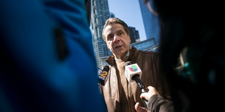NEW YORK, NY - MARCH 24: New York Governor Andrew Cuomo talks to reporters at the March For Our Lives, March 24, 2018 in New York City. Thousands of demonstrators, including students, teachers and parents are gathering in Washington, New York City and other cities across the country for an anti-gun violence rally organized by survivors of the Marjory Stoneman Douglas High School school shooting on February 14 that left 17 dead. More than 800 related events are taking place around the world to call for legislative action to address school safety and gun violence. (Photo by Drew Angerer/Getty Images)