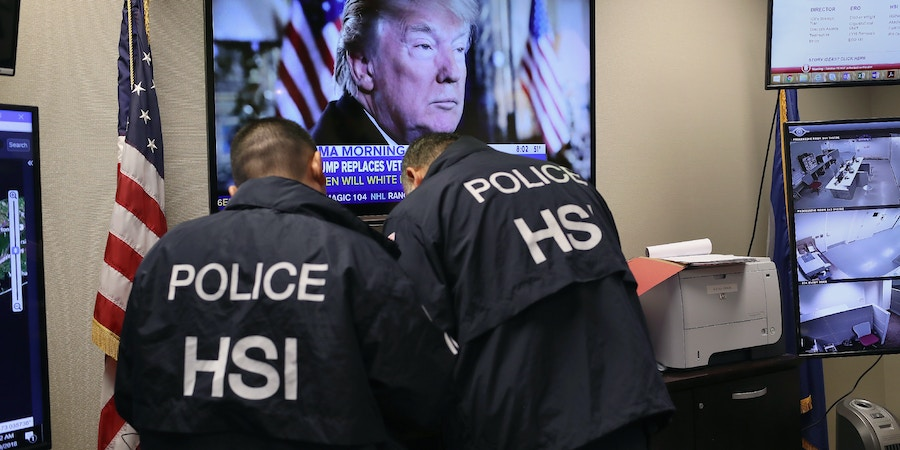 CENTRAL ISLIP, NY - MARCH 29:  Homeland Security Investigations (HSI) ICE agents work in a control center during an operation targeting immigrant gangs in Central Islip, New York. Overnight and into the morning, U.S. federal agents and local police detained suspected gang members across Long Island in a surge of arrests. The actions were part of Operation Matador, a nearly year-long anti-gang effort targeting transnational gangs, with an emphasis on MS-13.  (Photo by John Moore/Getty Images)