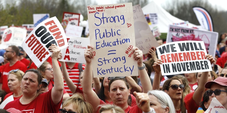 FRANKFORT, KY - APRIL 13: Kentucky Public school teachers rally for a