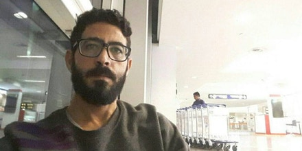A selfie by Hassan al-Kontar at Kuala Lumpur airport in Malaysia.