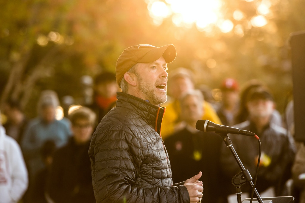 Joseph Kopser, an entrepreneur and veteran running for Congress, delivers a salute to veterans at the 25th annual House the Homeless Sunrise Memorial Service at Vic Mathias Shores on Sunday, November 19th, 2017.</p><br /><br /><br /><br /> <p>Erika Rich / American - Statesman