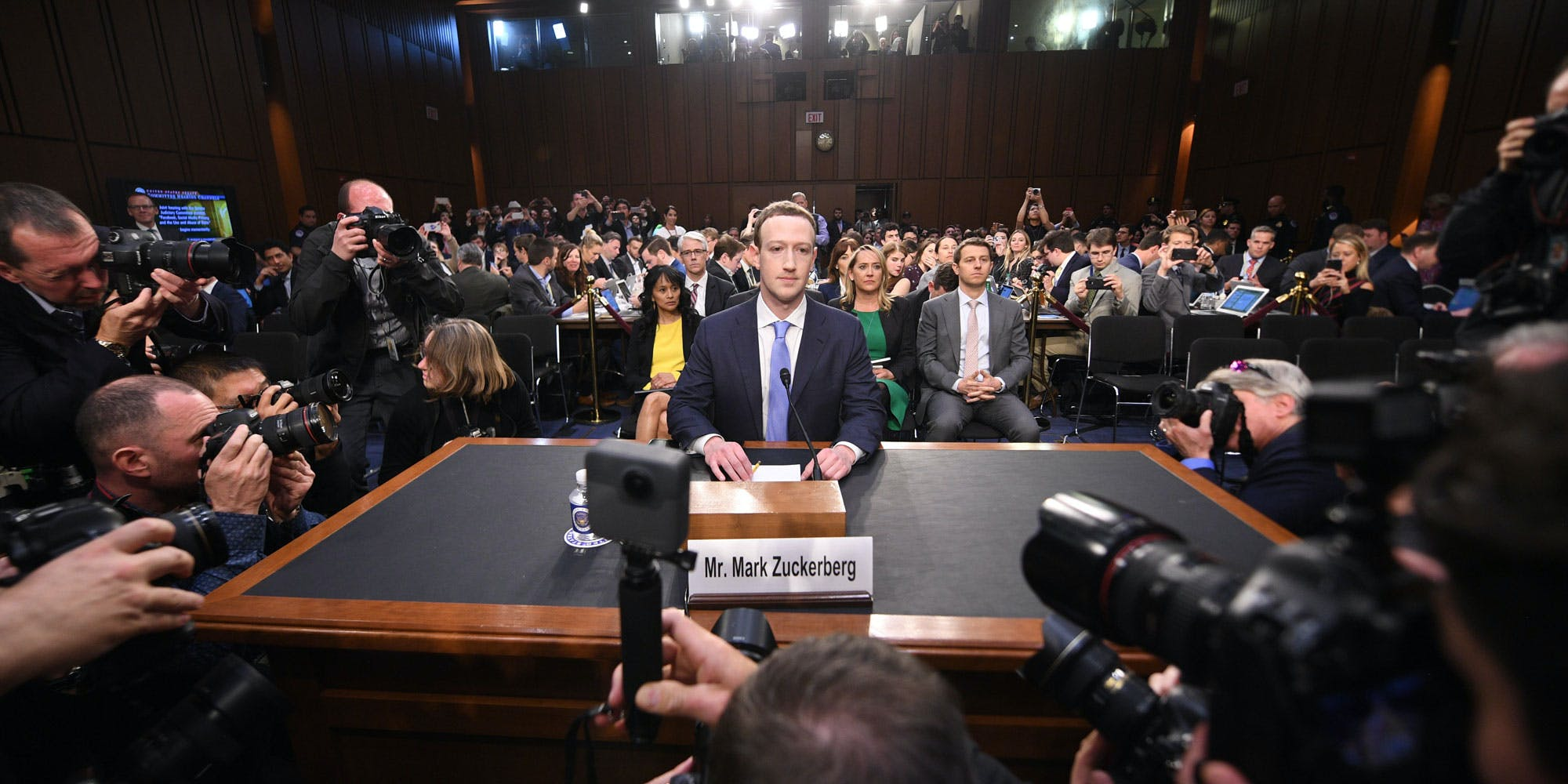 Facebook CEO Mark Zuckerberg arrives to testify before a joint hearing of the US Senate Commerce, Science and Transportation Committee and Senate Judiciary Committee on Capitol Hill, April 10, 2018 in Washington, DC. / AFP PHOTO / JIM WATSON (Photo credit should read JIM WATSON/AFP/Getty Images)