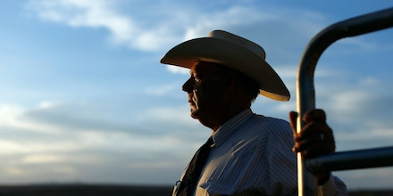 Rancher Cliven Bundy looks out over his 160 acre ranch in Bunkerville, Nevada May 3, 2014. When the U.S. government declared the Mojave desert tortoise an endangered species in 1989, it effectively marked the cattle ranchers of Nevada's Clark County for extinction. Rancher Cliven Bundy once had neighbors on the range: when the tortoise was listed, there were about 50 cattle-ranching families in the county. Some of them fought court battles to stay, rejecting the idea their cattle posed a danger to the tortoises. But, one by one, they slowly gave up and disappeared. Picture taken May 3, 2014. To match Insight USA-RANCHERS/NEVADA-TORTOISES/  REUTERS/Mike Blake    (UNITED STATES - Tags: POLITICS CRIME LAW ENVIRONMENT) - GM1EA5V006G01