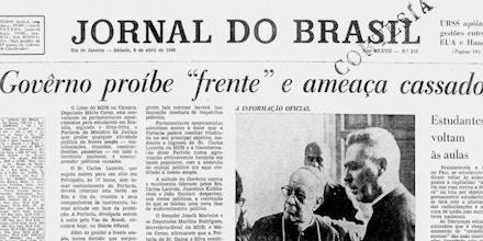 Reprodução da capa do Jornal do Brasil de 6 de abril de 1968