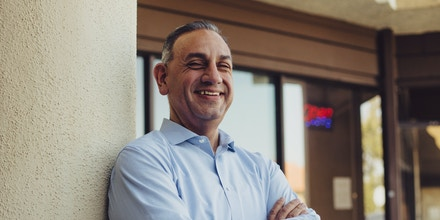 Gil Cisneros, a Democratic congressional candidate, outside his field office in Brea, Calif., April 20, 2018. Cisneros earned the backing of the Democratic Congressional Campaign Committee on Wednesday over rival Democrats in his Orange County district. (Rozette Rago/The New York Times)