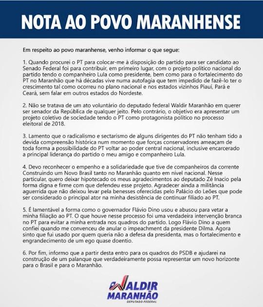 Nota do ex-presidente da Câmara anunciando filiação ao PSDB