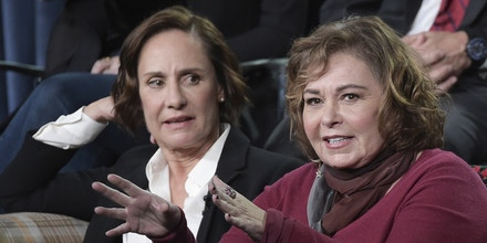 Laurie Metcalf, left, and Roseanne Barr participate in the