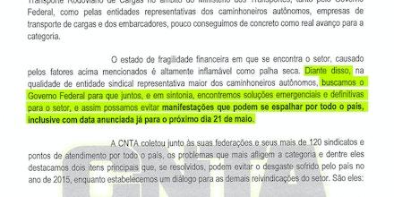 Documento da CNTA do dia 16 de maio antecipava greve ao governo.