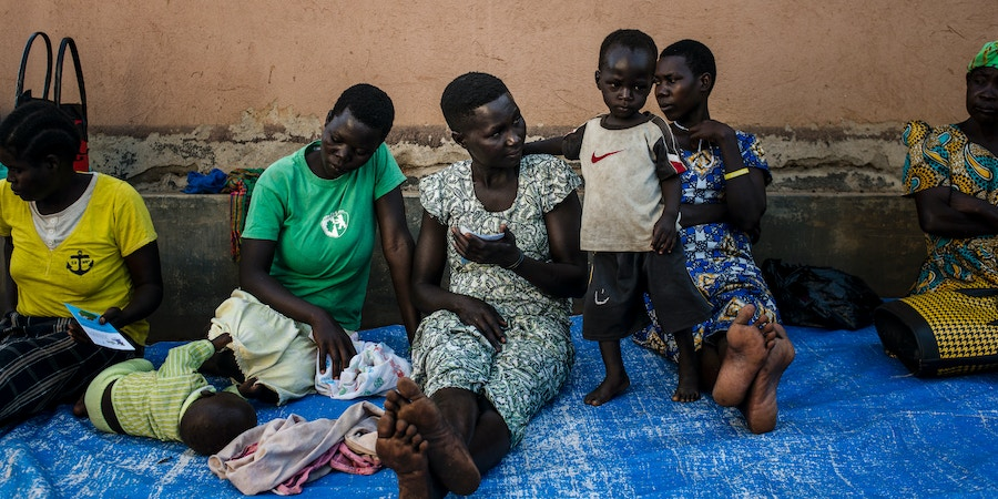 Brenda Akwero (center) already a mother of one, came to the family planning clinic to learn about different methods of birth control on March 26, 2018 in Parabongo, Uganda.
