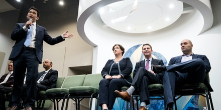 UNITED STATES - MAY 22: From left, Dave Min, Katie Porter, Brian Forde and Kia Hamadanchy, the Democrats running for California's 45th Congressional district seat in Congress, participate in the DEMOC PAC's candidate forum at the University Synagogue in Irvine, Calif., on Tuesday, May 22, 2018. California is holding its primary election on June 5, 2018. (Photo By Bill Clark/CQ Roll Call) (CQ Roll Call via AP Images)