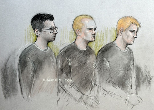 National Action court case. File court artist sketch dated 12/09/2017 by Elizabeth Cook of (from the left) Alexander Deakin, 22, Mikko Vehvilainen, 32, and Mark Barrett, 24, who will appear before the Old Bailey later accused of being part of the proscribed organisation National Action. Issue date: Thursday September 21, 2017. See PA story COURTS NationalAction. Photo credit should read: Elizabeth Cook/PA Wire URN:32930838