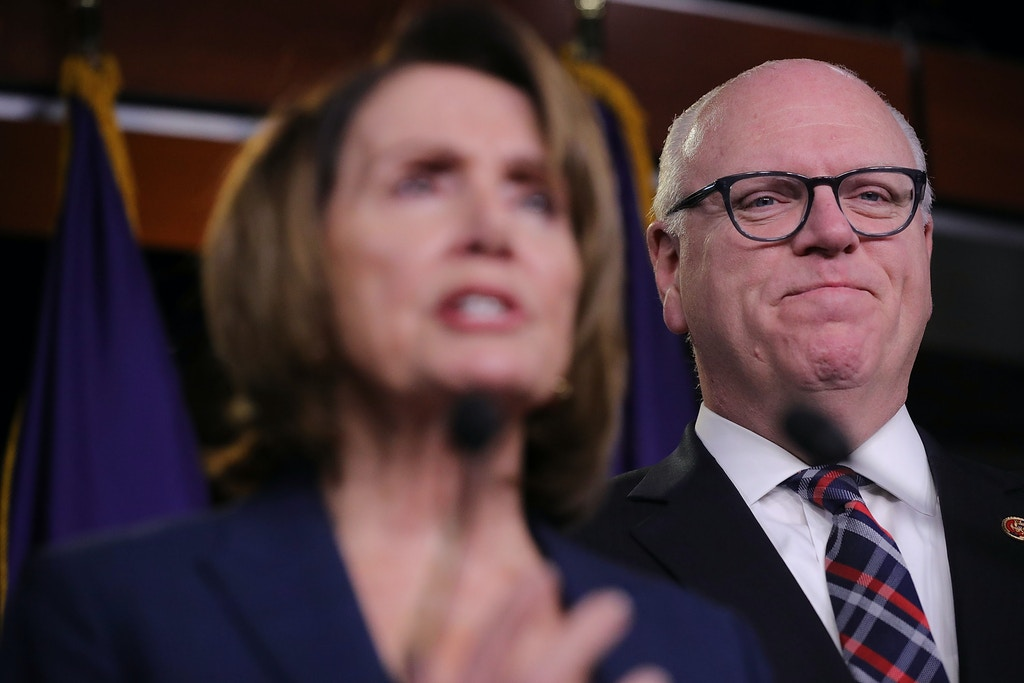 WASHINGTON, DC - JANUARY 31:  Rep. Joseph Crowley (D-NY) and House Minority Leader Nancy Pelosi (D-CA) talk to reporters following a meeting of the House Democratic caucus at the U.S. Capitol January 31, 2018 in Washington, DC. House Democratic leaders responded to President Donald Trump's first State of the Union address he delivered Tuesday night.  (Photo by Chip Somodevilla/Getty Images)