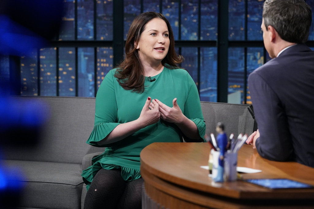 LATE NIGHT WITH SETH MEYERS -- Episode 682 -- Pictured: (l-r) Journalist Rukmini Callimachi during an interview with host Seth Meyers on May 7, 2018 -- (Photo by: Lloyd Bishop/NBC/NBCU Photo Bank via Getty Images)