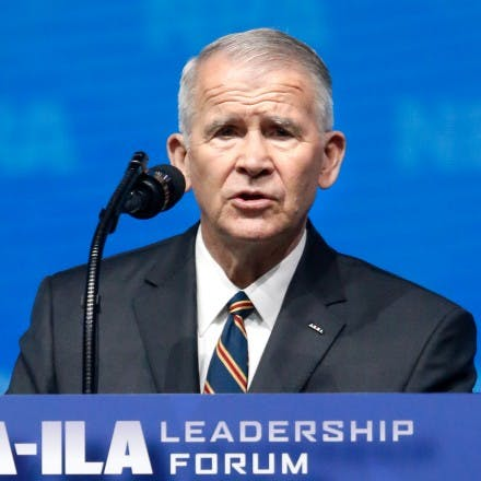Former U.S. Marine Lt. Col. Oliver North gives the Invocation at the National Rifle Association-Institute for Legislative Action Leadership Forum in Dallas, Friday, May 4, 2018. (AP Photo/Sue Ogrocki)