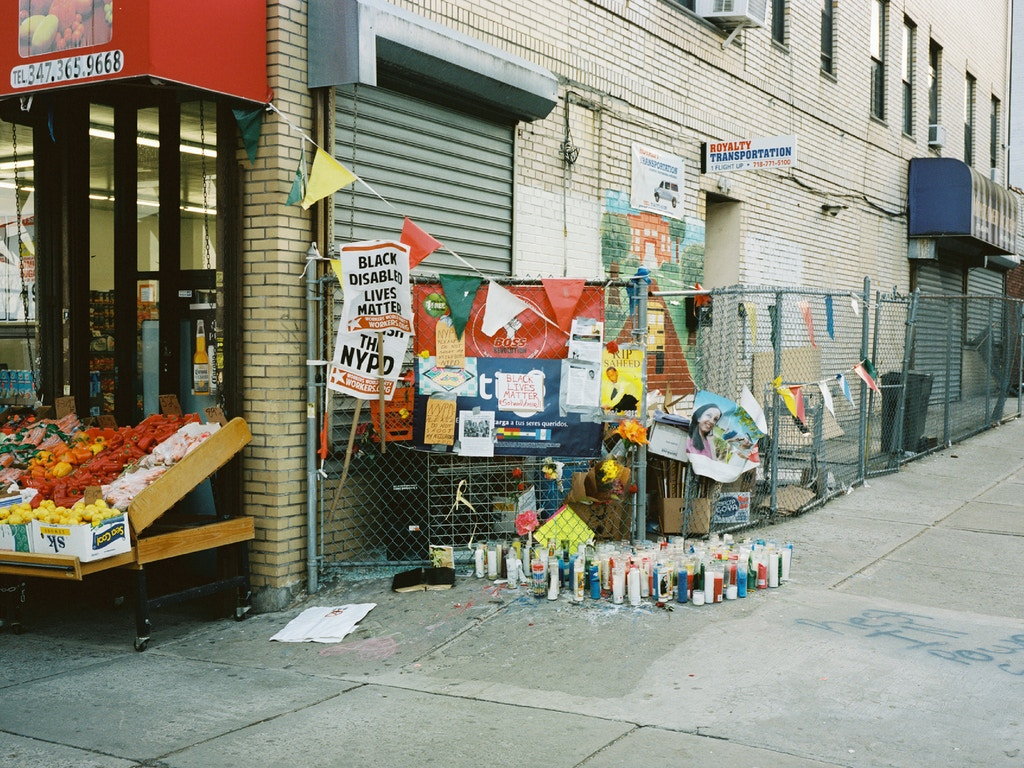 A memorial for Vassell on the corner of Utica Avenue and Montgomery Street. Photo by Liam Quigley for The Intercept