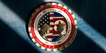 A commemorative coin released by the White House for a potential