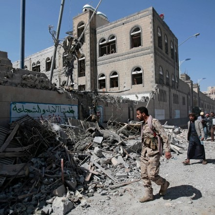 Yemenis inspect the damage after deadly airstrikes in and near the presidential compound, in Sanaa, Yemen, Monday, May. 7, 2018. Airstrikes by the Saudi-led coalition fighting Yemen's Shiite rebels targeted the presidency building in the heart of the Yemeni capital on Monday, leaving at least six people dead and some 30 wounded, according to health officials. (AP Photo/Hani Mohammed)