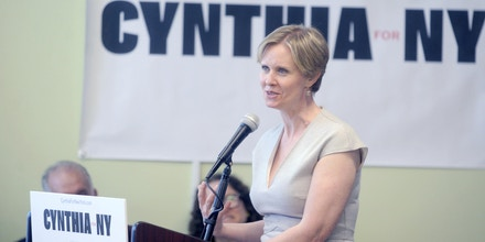 Photo by: Dennis Van Tine/STAR MAX/IPx 2018 4/20/18 Democratic candidate for governor Cynthia Nixon will visit the Rockaways for a community forum on Friday to unveil her plan to tackle climate change. Nixon's plan includes a just transition to a clean energy economy by moving to 100% renewable energy, stopping all new fossil fuel infrastructure projects, and making corporate polluters pay for the damage they are causing communities and our planet. Cynthia will be joined by local organizers and community members directly impacted by the disastrous effects of climate change.