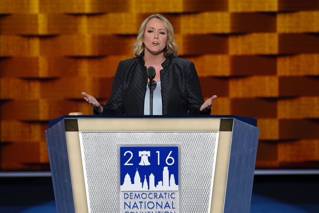 President of EMILYs List Stephanie Schriock speaks on Day Three of the Democratic National Convention at the Wells Fargo Center in Philadelphia, Pennsylvania, July 27, 2016. / AFP / SAUL LOEB        (Photo credit should read SAUL LOEB/AFP/Getty Images)