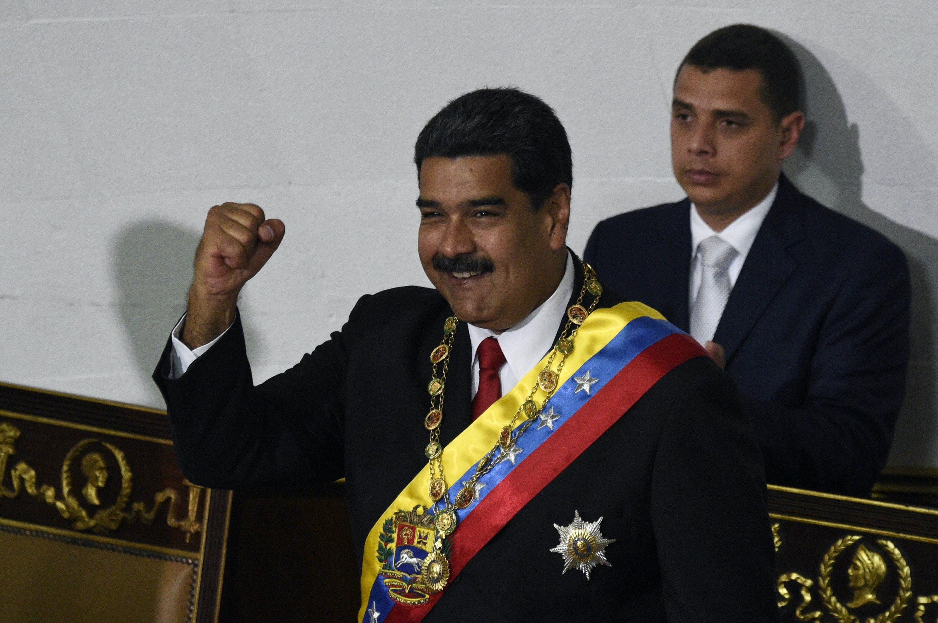 Venezuelan President Nicolas Maduro gestures during his second-term sworn in ceremony, at the Congress in Caracas on May 24, 2018. (Photo by Federico Parra / AFP)        (Photo credit should read FEDERICO PARRA/AFP/Getty Images)