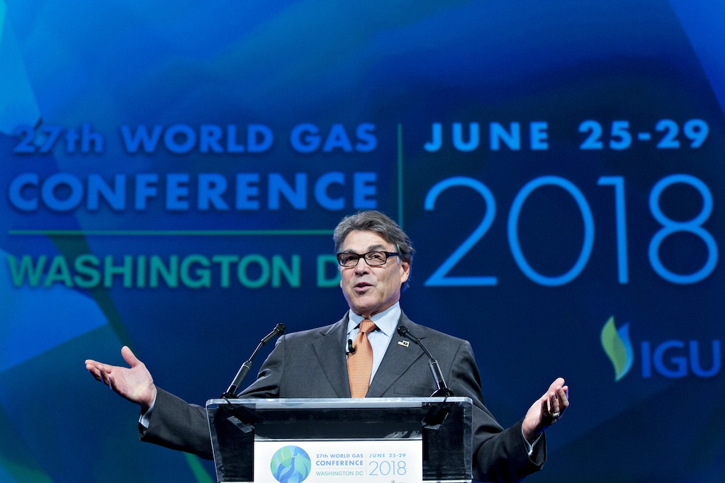 Rick Perry, U.S. secretary of energy, speaks during the World Gas Conference in Washington, D.C., U.S, on Tuesday, June 26, 2018. The 27th World Gas Conference, themed Fueling the Future, is held every three years in the country holding the Presidency of the International Gas Union (IGU). Photographer: Andrew Harrer/Bloomberg via Getty Images